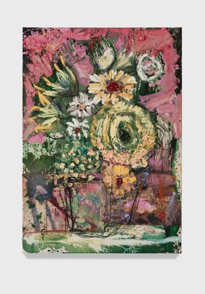 Flowers 16 (pink green yellow) by Daniel Crews-Chubb contemporary artwork