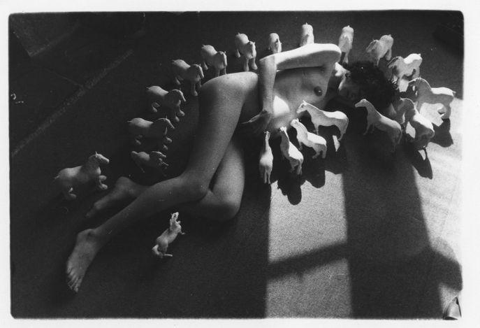 Rose English, Tessa Pregnant with Joseph(1974/2021). Black and white digital print from original 35mm B&W negative. 24 x 30.5 cm. Courtesy Richard Saltoun Gallery.