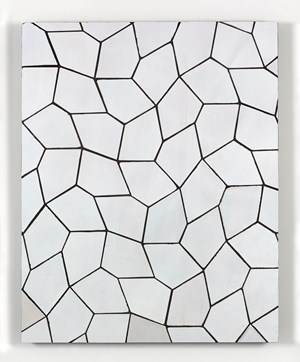 Tile Painting (Terracotta Pentagon Leaves, White) by Sarah Crowner contemporary artwork