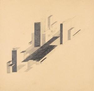 Suprematist City by Nikolai Suetin contemporary artwork drawing