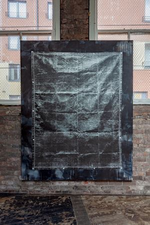 Olive Drab Heavyweight Canvas Tarp (Black) by Gardar Eide Einarsson contemporary artwork