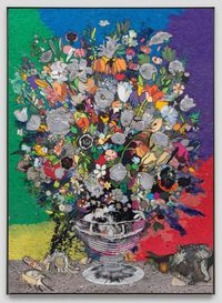 Still life with Flowers in a Sculpted Vase (B50) by Matthew Day Jackson contemporary artwork painting, works on paper, sculpture, mixed media