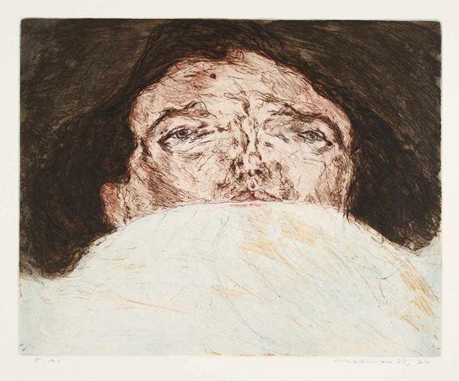 Im Bett - Gesichtslandschaft III by Marwan contemporary artwork