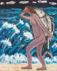 The Lady and the Ocean by Kitti Narod contemporary artwork painting