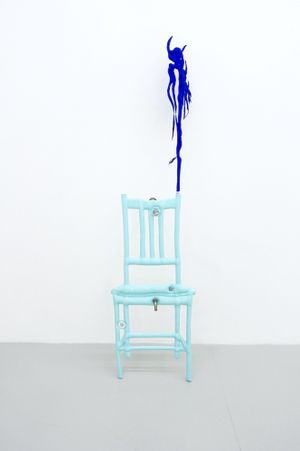 Blue chair with plant by Caroline Rothwell contemporary artwork