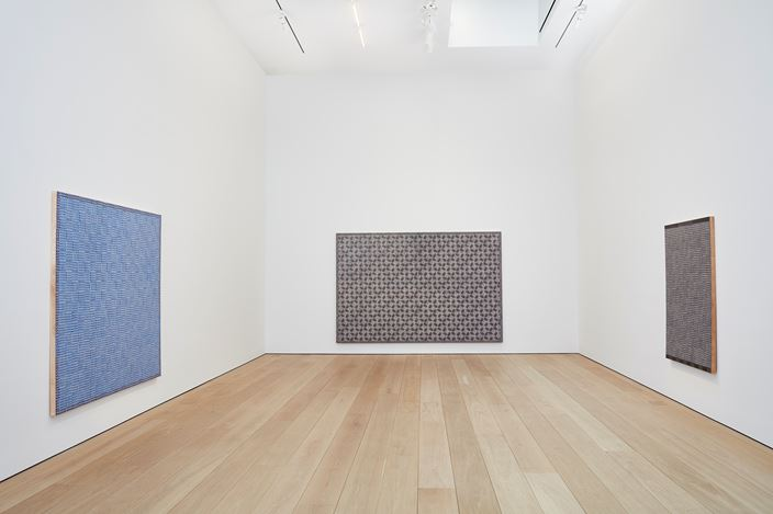 Exhibition view: McArthur Binion, HAND:WORK, Lehmann Maupin New York. W 24th Street (17 January–2 March 2019). Courtesy the artist and Lehmann Maupin, New York, Hong Kong, and Seoul. Photo: Matthew Herrmann.