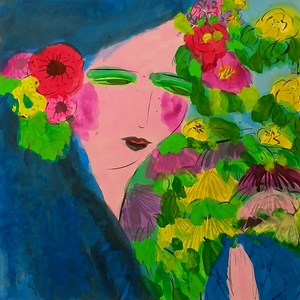 Girl with a Garland 戴花環的女孩 by Walasse Ting contemporary artwork