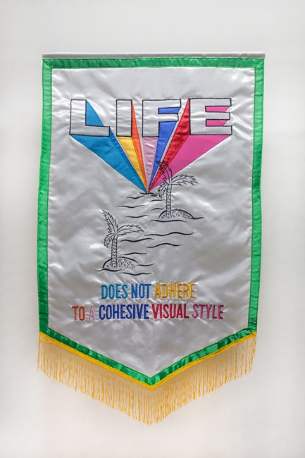 Slogan or Other Message in Vibrant Silk and Fringe VII by Dina Gadia contemporary artwork