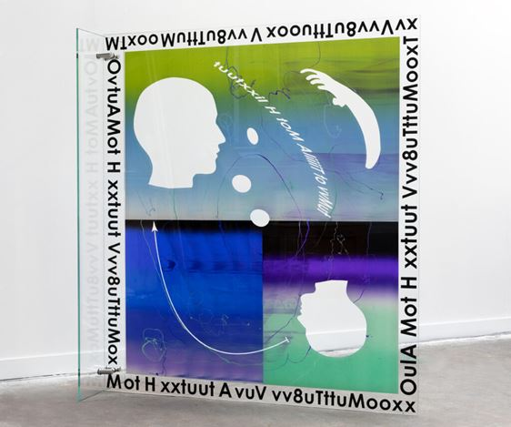José León Cerrillo, Poem (an appositive, an amplification, an illustrative quotation) (2019). Silkscreen ink on low-iron tempered glass. 150 x 170 x .9 cm. Courtesy Andréhn-Schiptjenko.