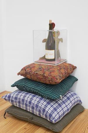 Trump Molotov #3 (on stolen pillow pedestal) by Hadi Fallahpisheh contemporary artwork