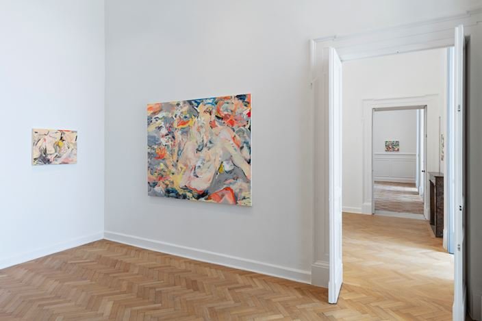 Exhibition view: Cecily Brown, We Didn't Mean to Go to Sea, Thomas Dane Gallery, Naples (19 March–27 July 2019). © Cecily Brown. Courtesy the artist and Thomas Dane Gallery. Photo: Amedeo Benestante.