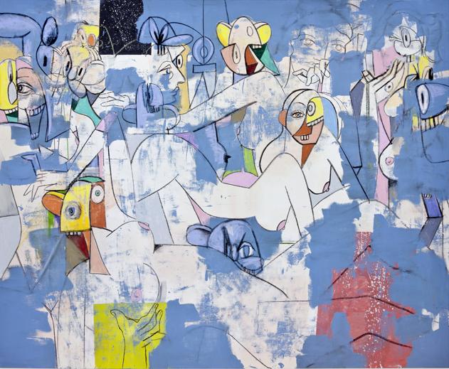 Blue Nudes by George Condo contemporary artwork