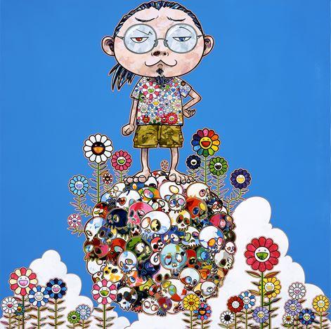 Takashi Murakami, Me Among The Supernatural (2013). Acrylic on canvasmounted on aluminum frame. 100 x100 cm. © 2013 Takashi Murakami/Kaikai Kiki Co., Ltd. All Rights Reserved. Courtesy STPI, Singapore.