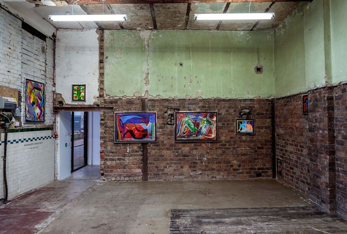 Exhibition view: Spencer Sweeney, The Pastels, The Modern Institute, Aird's Lane Bricks Space, Glasgow (16 March–11 May 2019). Courtesy the Artist and The Modern Institute/Toby Webster Ltd, Glasgow. Photo: Patrick Jameson.