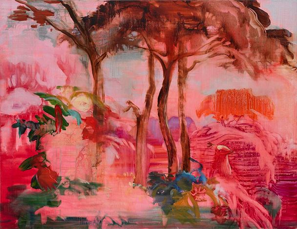 Adrienne Gaha, Alizarin Landscape (2020). Oil on canvas  102 x 130 cm. Courtesy Martin Browne Contemporary.
