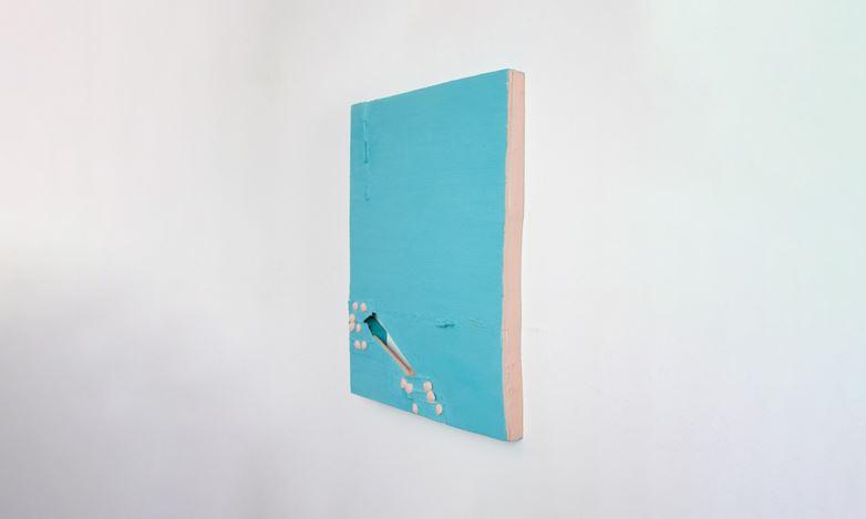 Louise Gresswell, Untitled (aqua) (2020). Oil on board, 36 x 27 cm. Courtesy Gallery 9, Sydney.