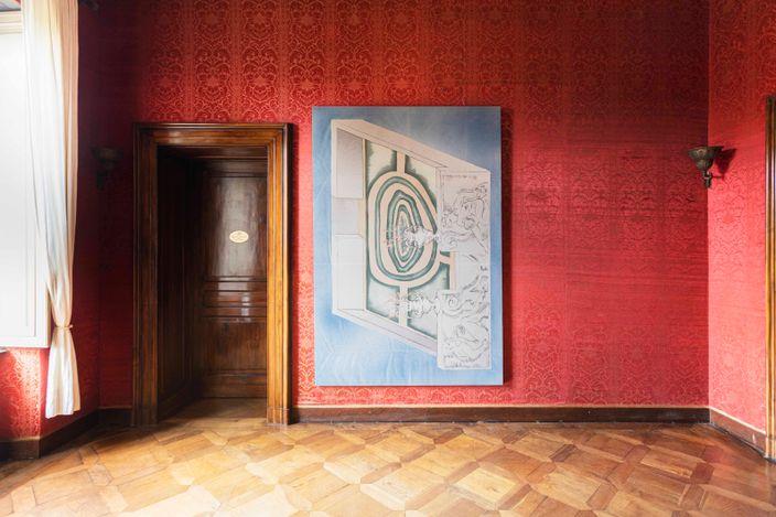 Exhibition view: Matthew Lutz-Kinoy, Grand Entrance,Mendes Wood DM at Villa Era,Vigliano Biellese, Italy (31 May–17 July 2021). CourtesyMendes Wood DM. Photo: Nicola Gnesi.