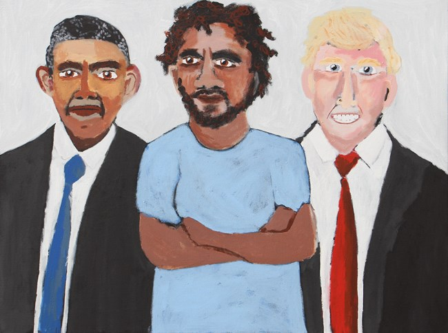 Obama and Me with Donald by Vincent Namatjira contemporary artwork