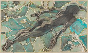 swimmer under water by Billy Childish contemporary artwork