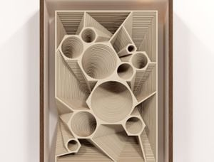 Low Relief with 10 circles and 10 polyhedric depressions by Marco A. Castillo contemporary artwork