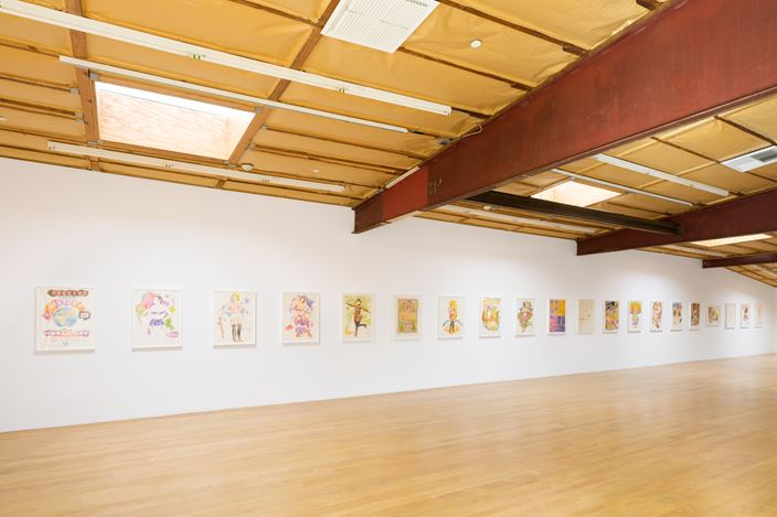 """Exhibition view: Robert Colescott, Two Drawing Sweets: """"Robert's Complete History of World Art"""" (1979) and """"The Girls of the Golden West"""" (1980), Blum & Poe, Los Angeles (23 January–6 March 2021). © The Robert H. Colescott Separate Property Trust / Artists Rights Society (ARS), New York. Courtesy The Trust and Blum & Poe, Los Angeles/New York/Tokyo. Photo: Dan Finlayson."""