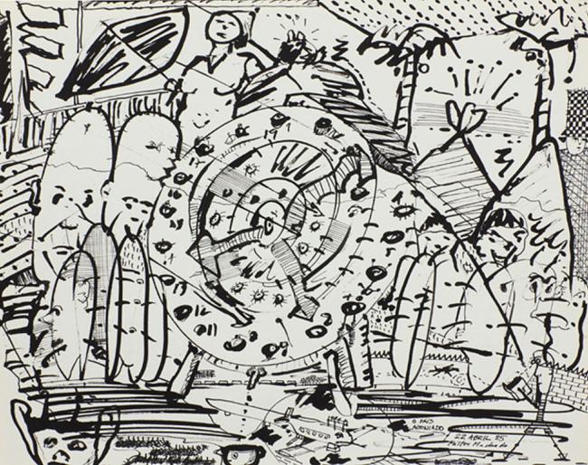 O país agoniado, from the series PEARL Drawing Pad 1985  by Milton Machado contemporary artwork