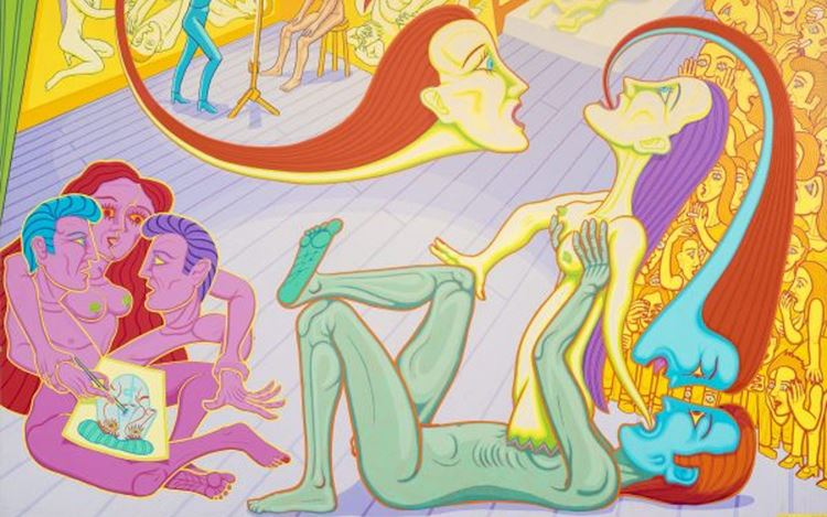 Christopher Battye, In her studio (1997) (detail). Acrylic on canvas. 183 x 244 cm. Courtesy Gazelli Art House.