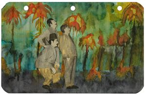 Three men with palm trees by Marcel Dzama contemporary artwork