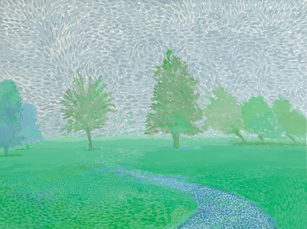 David Hockney, Trees Mist (2019). Acrylic on canvas. 91.4 x 121.9 cm. © David Hockney. Courtesy Galerie Lelong & Co. Paris. Photo: Richard Schmidt.