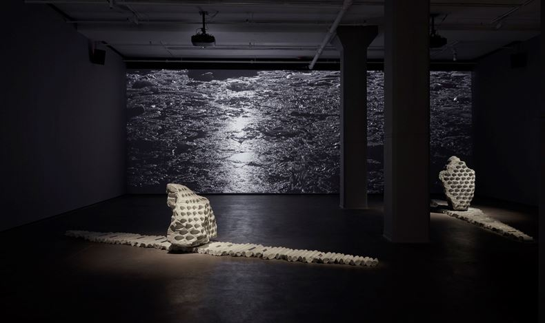 Exhibition view: Julian Charrière, Towards No Earthly Pole, Sean Kelly, New York (31 January–21 March 2020). Courtesy Sean Kelly, New York.Photo: Jason Wyche, New York.