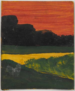 Untitled (Red Sky black land yellow sea with green foliage) by Frank Walter contemporary artwork