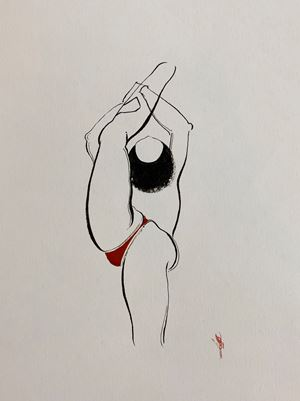 Bend Drawing 9 by Hayv Kahraman contemporary artwork