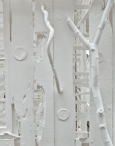 Rachel Whiteread, Poltergeist (2020) (detail). Corrugated iron, beech, pine, oak, household paint, and mixed media. 305 × 280 × 380 cm. © Rachel Whiteread. Courtesy Gagosian. Photo: Prudence Cuming Associates.