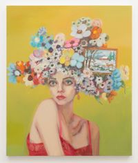 Dolores (Girl with flowered hat and landscape) by Janet Werner contemporary artwork painting
