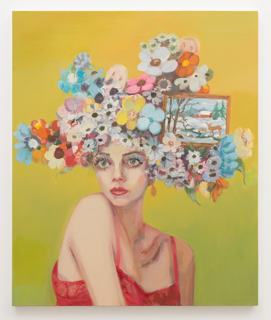 Dolores (Girl with flowered hat and landscape) by Janet Werner contemporary artwork