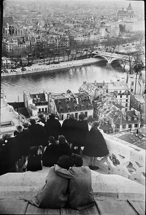 Schoolchildren looking from the Top of Notre-Dame Cathedral at the Seine River, Paris by Henri Cartier-Bresson contemporary artwork