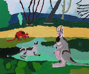 kangaroos in landscape by Troy Emery contemporary artwork