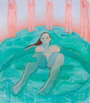 Aquamarina, Caryatids, Opalescent Skies by Sofia Mitsola contemporary artwork painting