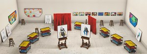 Seven Trollies, Six and a Half Stools, Six Portraits, Eleven Paintings, and Two Curtains by David Hockney contemporary artwork