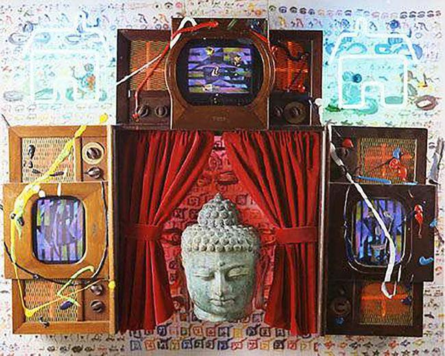 Homeless Buddha by Nam June Paik contemporary artwork