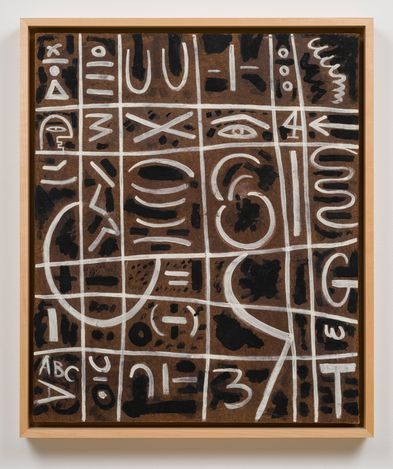 Adolph Gottlieb,Black and White On Pressed Wood (1950). Gouache and tempera on Masonite. 61 cm × 50.8 cm; 65.4 × 55.6 × 5.7 cm (incl frame). © Adolph and Esther Gottlieb Foundation/Licensed by VAGA at ARS, NY. Courtesy Pace Gallery.