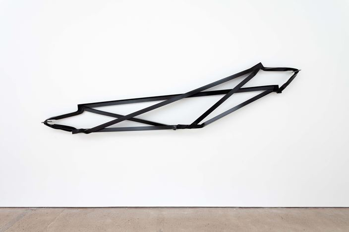 Monika Sosnowska, Cross Brace (2019). Exhibition view: Monika Sosnowska, The Modern Institute, Aird's Lane, Glasgow (25 May–7 September 2019). Courtesy the artist and The Modern Institute/Toby Webster Ltd, Glasgow. Photo: Patrick Jameson.