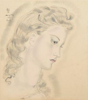 Portrait de jeune femme blonde by Léonard Tsuguharu Foujita contemporary artwork