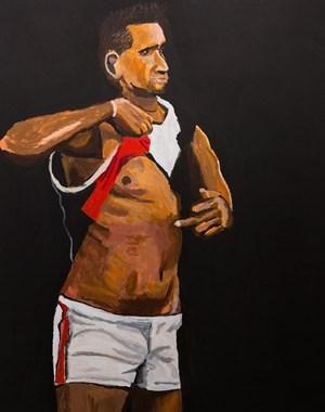 Legends, Nicky Winmar by Vincent Namatjira contemporary artwork