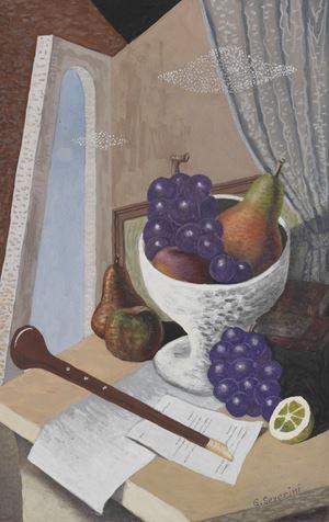 Natura morta con strumento musicale a fiato e coppa di frutta by Gino Severini contemporary artwork