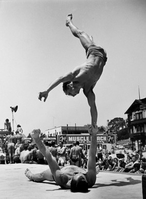 Two Men Doing a Handstand by Larry Silver contemporary artwork