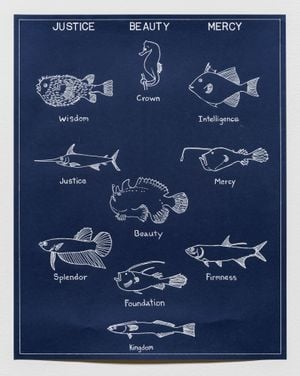 Ichthyology of Cardinal Virtues by Mark Dion contemporary artwork painting, works on paper, drawing