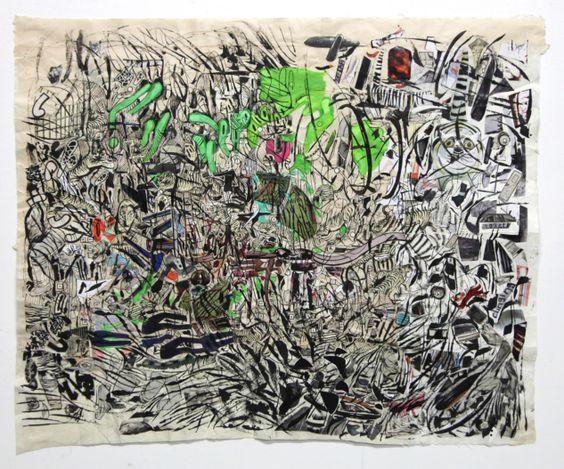Elliott Hundley. 30.8.20.1 (2020). Ink and collage on paper. 60.5 x 71 cm. Courtesy Baik Art, Seoul.