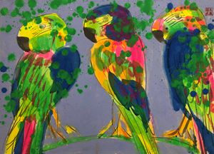 Three Birds on a Branch by Walasse Ting contemporary artwork
