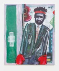 A man wearing a suit and gloves and leaning to his left by Simon Blau contemporary artwork painting